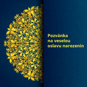 pozvánka na oslavu narozenin modrá žlutá