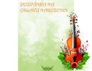 Pozvánka na oslavu narozenin housle